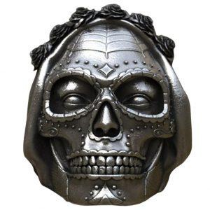 Bague Tête de Mort Femme Mexicaine   Acier