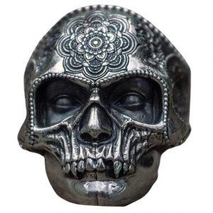 Bague Tête de Mort Mandala | Acier