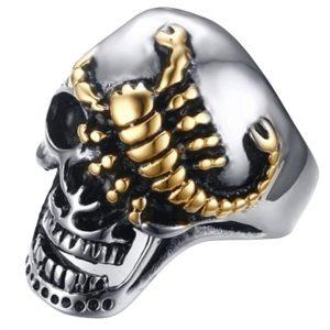 Bague Tête De Mort Et Scorpion